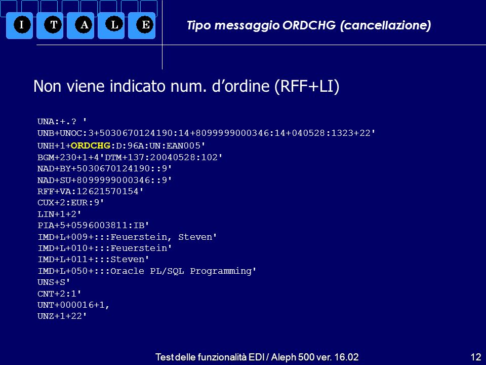 Test delle funzionalità EDI / Aleph 500 ver. 16.02