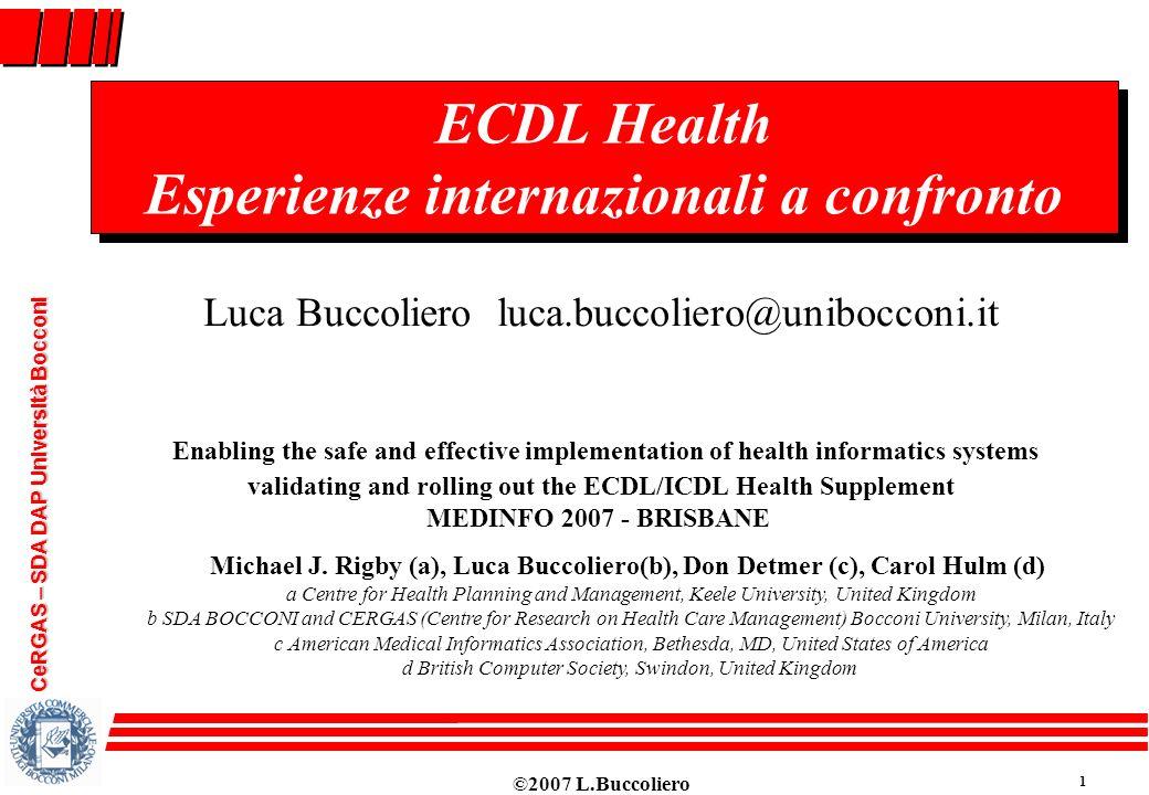 ECDL Health Esperienze internazionali a confronto