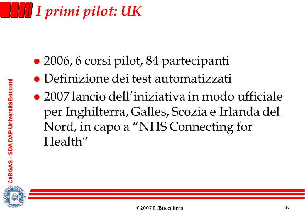 I primi pilot: UK 2006, 6 corsi pilot, 84 partecipanti