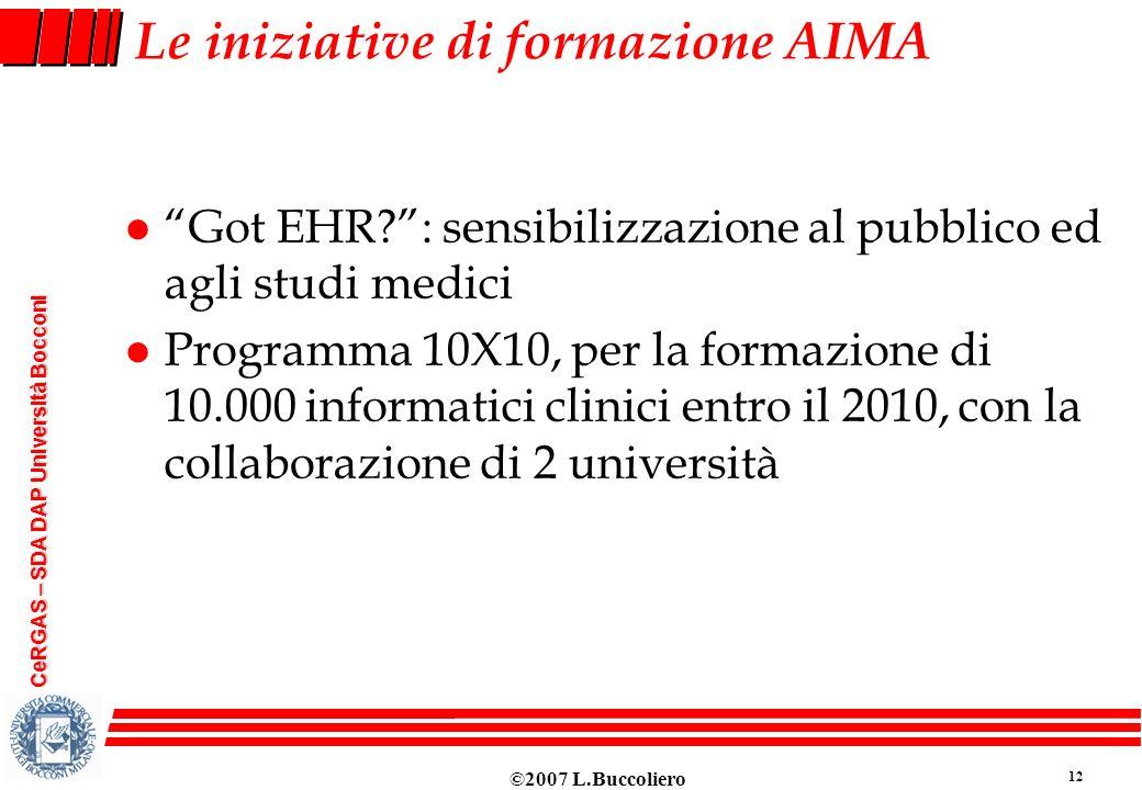 Le iniziative di formazione AIMA