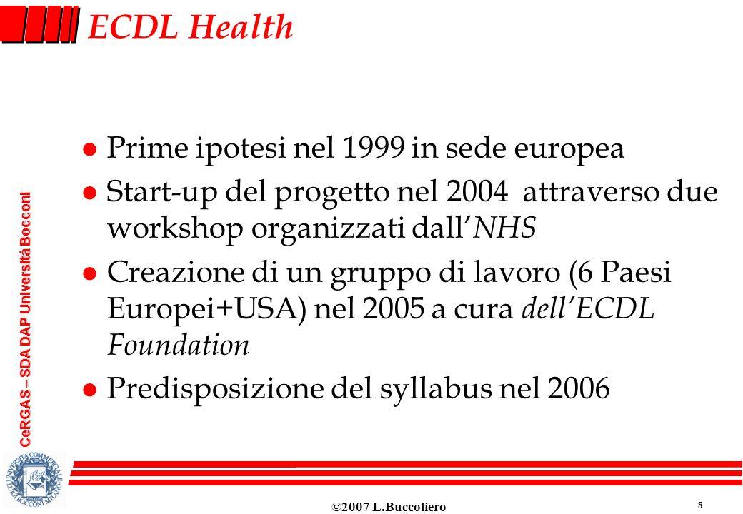 ECDL Health Prime ipotesi nel 1999 in sede europea