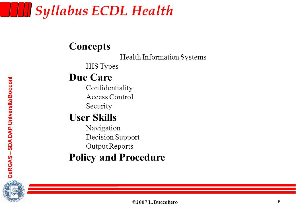 Syllabus ECDL Health Concepts Due Care User Skills