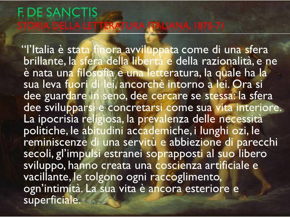 F. De sanctis storia della letteratura italiana, 1870-71