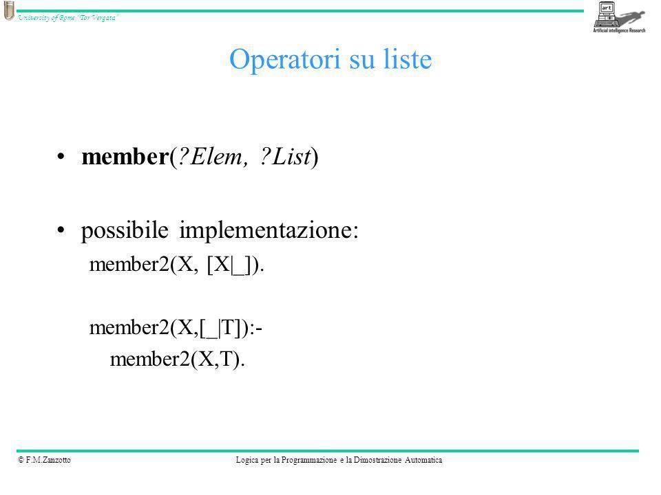 Operatori su liste member( Elem, List) possibile implementazione: