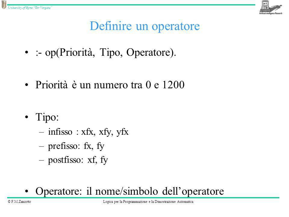 Definire un operatore :- op(Priorità, Tipo, Operatore).