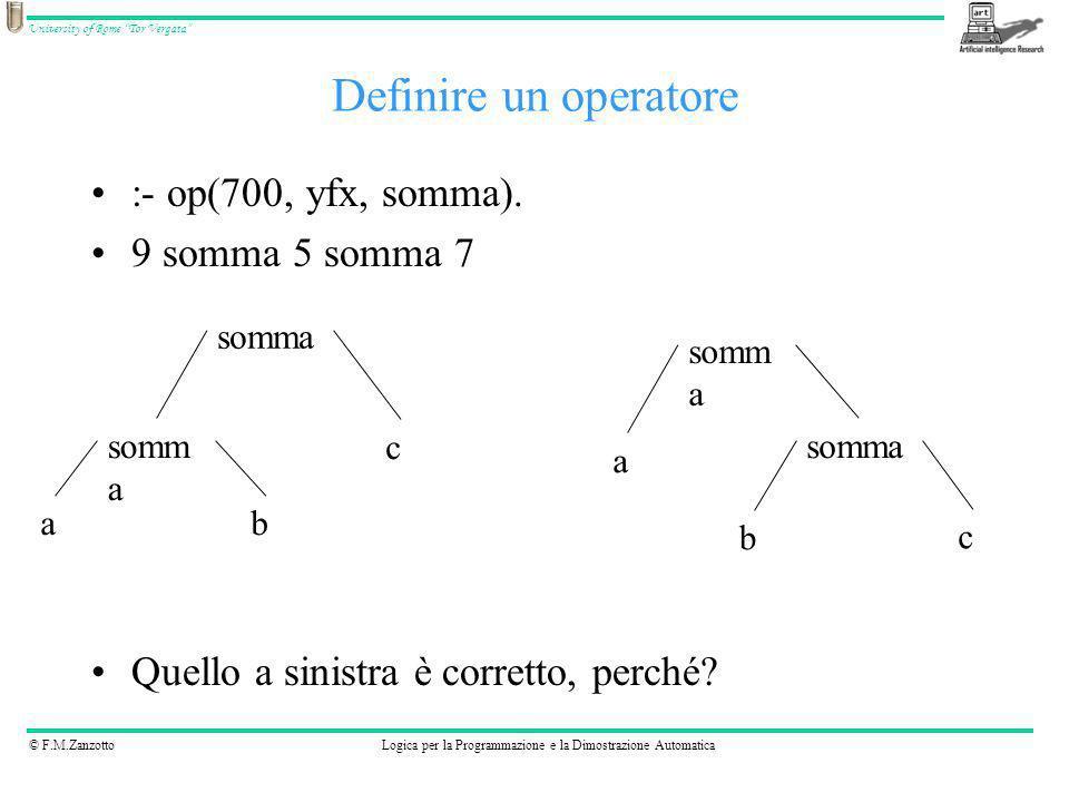 Definire un operatore :- op(700, yfx, somma). 9 somma 5 somma 7