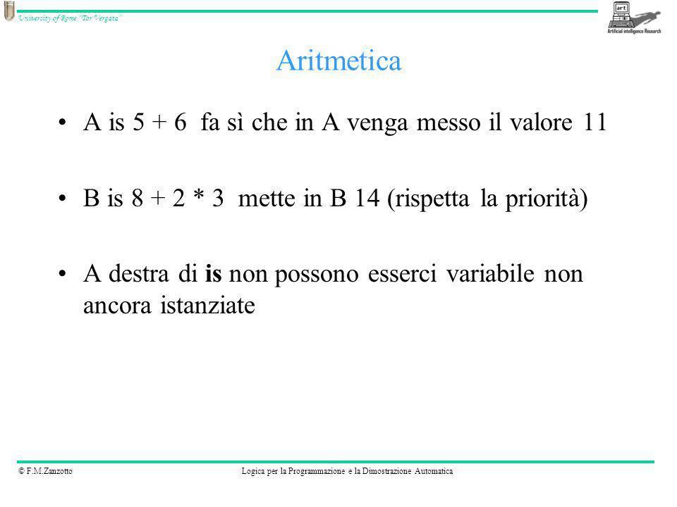Aritmetica A is 5 + 6 fa sì che in A venga messo il valore 11