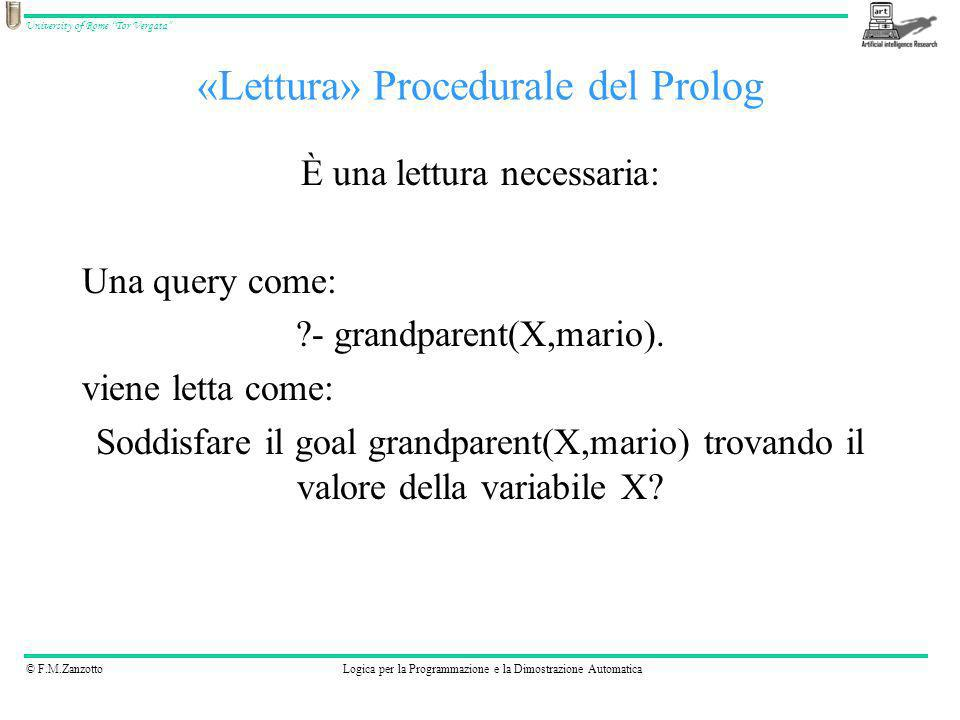«Lettura» Procedurale del Prolog