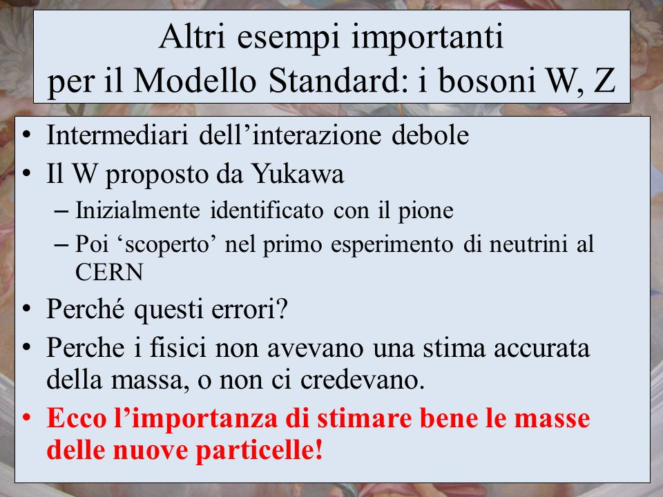Altri esempi importanti per il Modello Standard: i bosoni W, Z