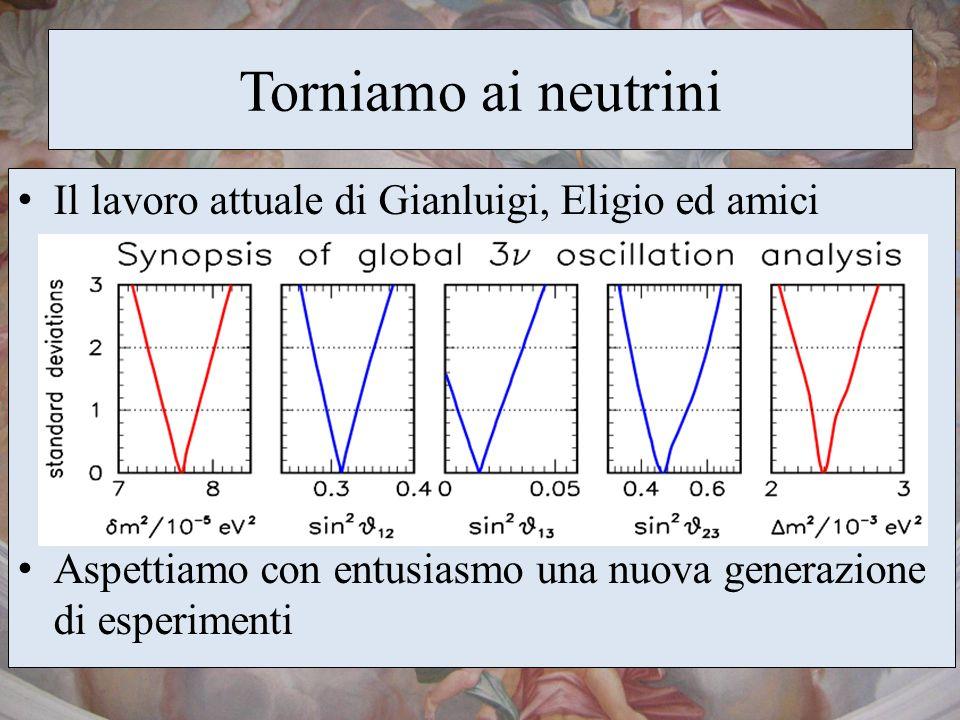 Torniamo ai neutrini Il lavoro attuale di Gianluigi, Eligio ed amici