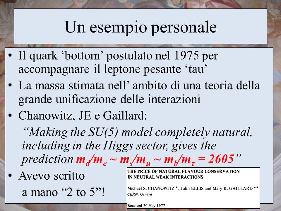 Un esempio personale Il quark 'bottom' postulato nel 1975 per accompagnare il leptone pesante 'tau'