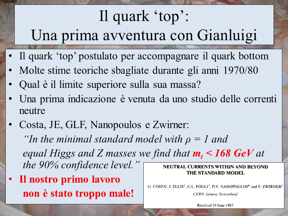 Il quark 'top': Una prima avventura con Gianluigi