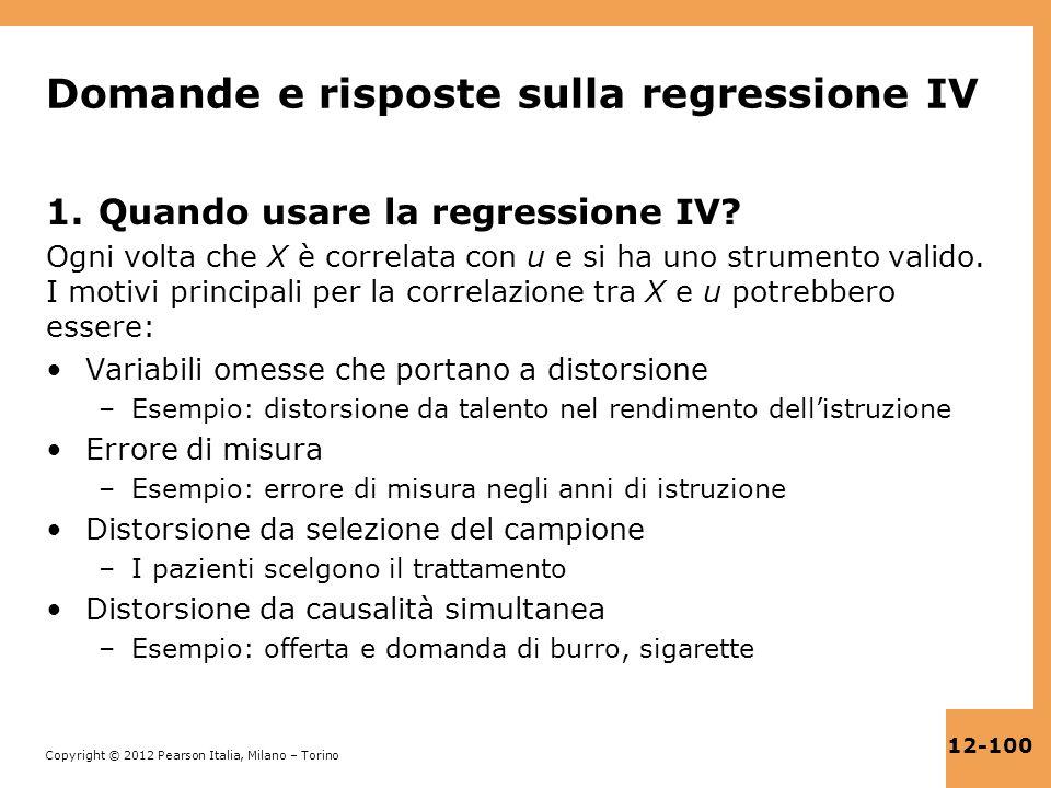 Domande e risposte sulla regressione IV