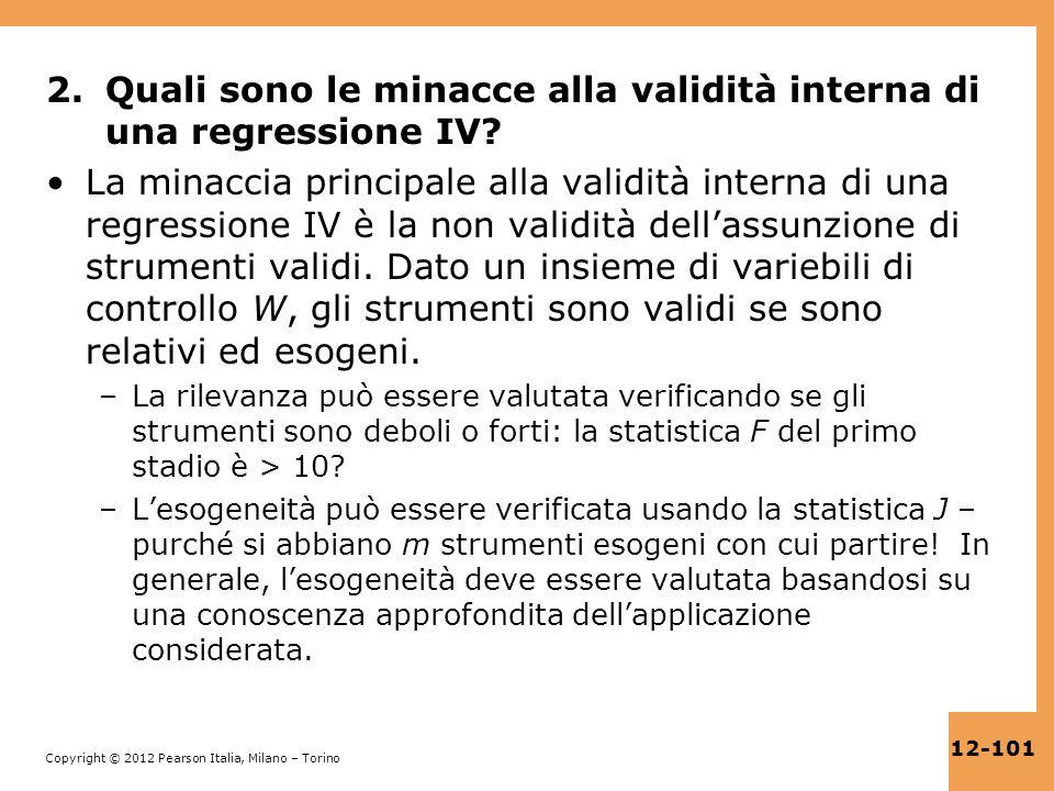 Quali sono le minacce alla validità interna di una regressione IV