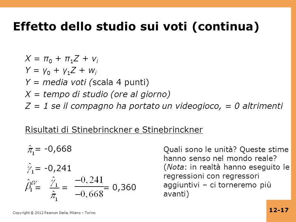 Effetto dello studio sui voti (continua)