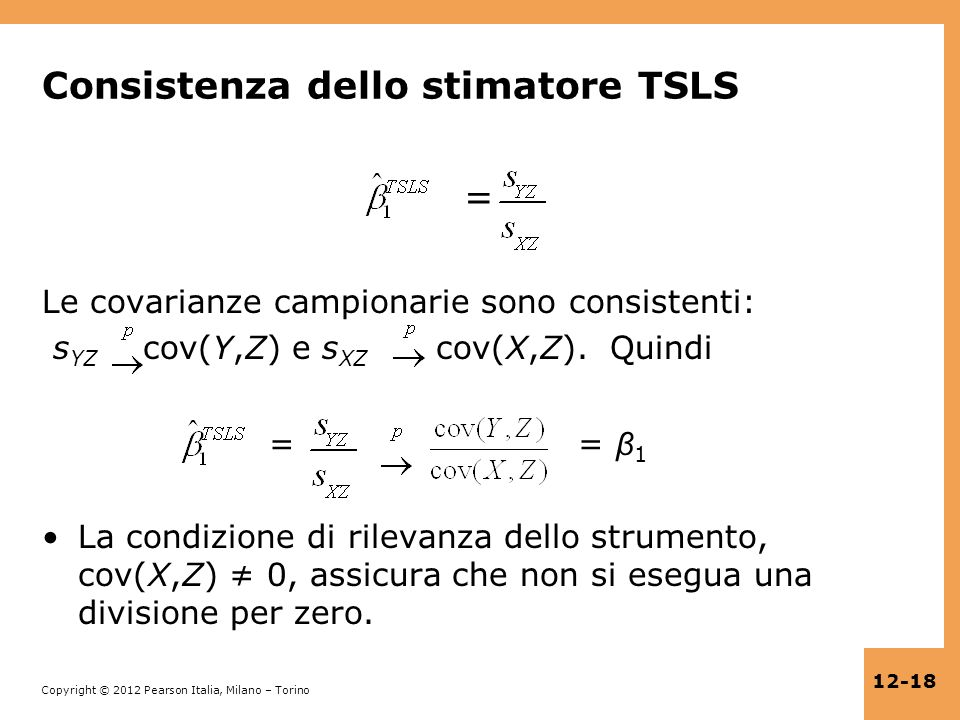 Consistenza dello stimatore TSLS