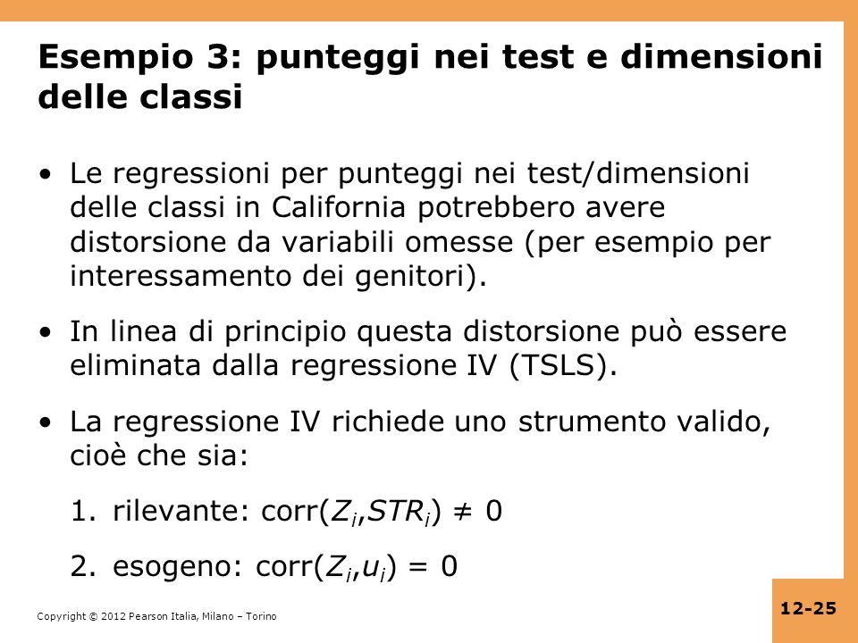 Esempio 3: punteggi nei test e dimensioni delle classi