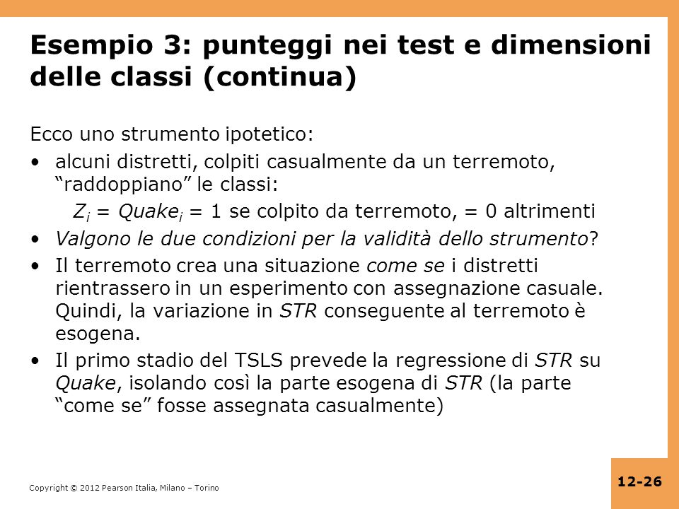 Esempio 3: punteggi nei test e dimensioni delle classi (continua)