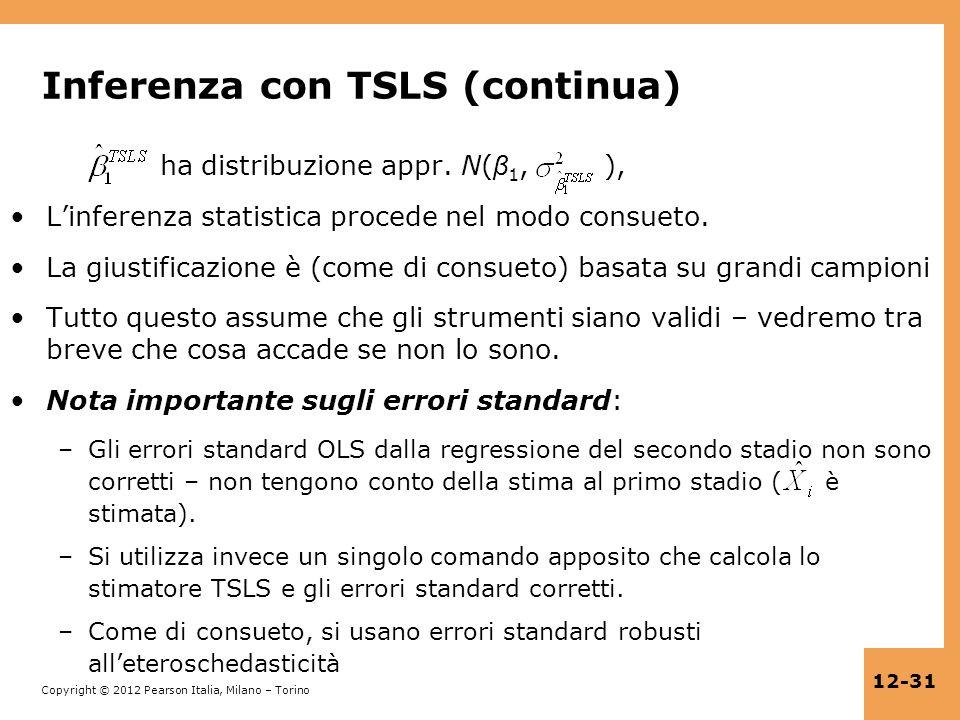 Inferenza con TSLS (continua)