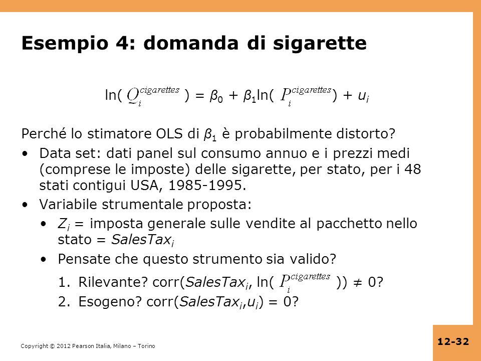 Esempio 4: domanda di sigarette