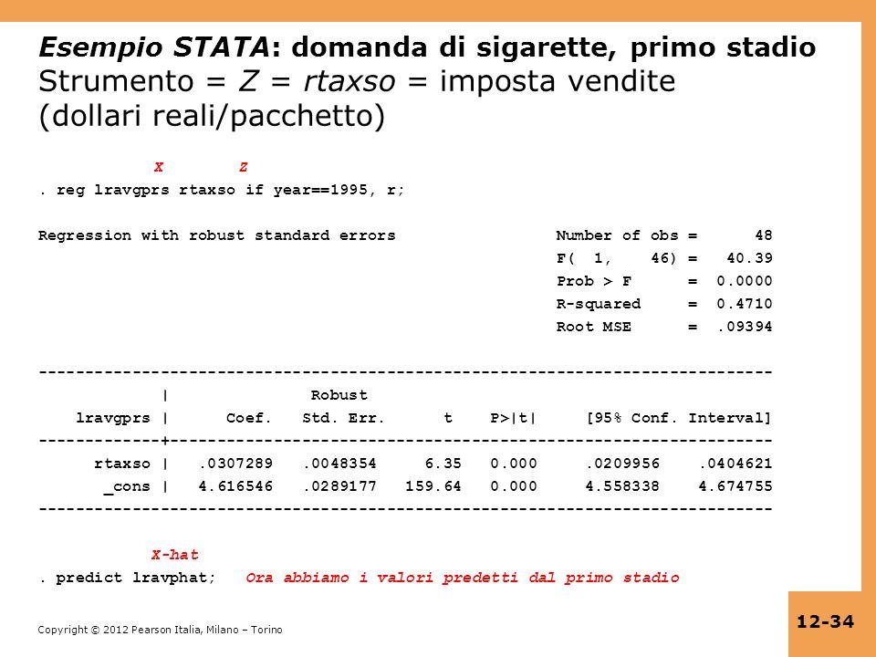 Esempio STATA: domanda di sigarette, primo stadio Strumento = Z = rtaxso = imposta vendite (dollari reali/pacchetto)