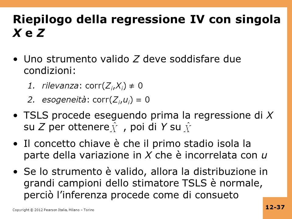 Riepilogo della regressione IV con singola X e Z