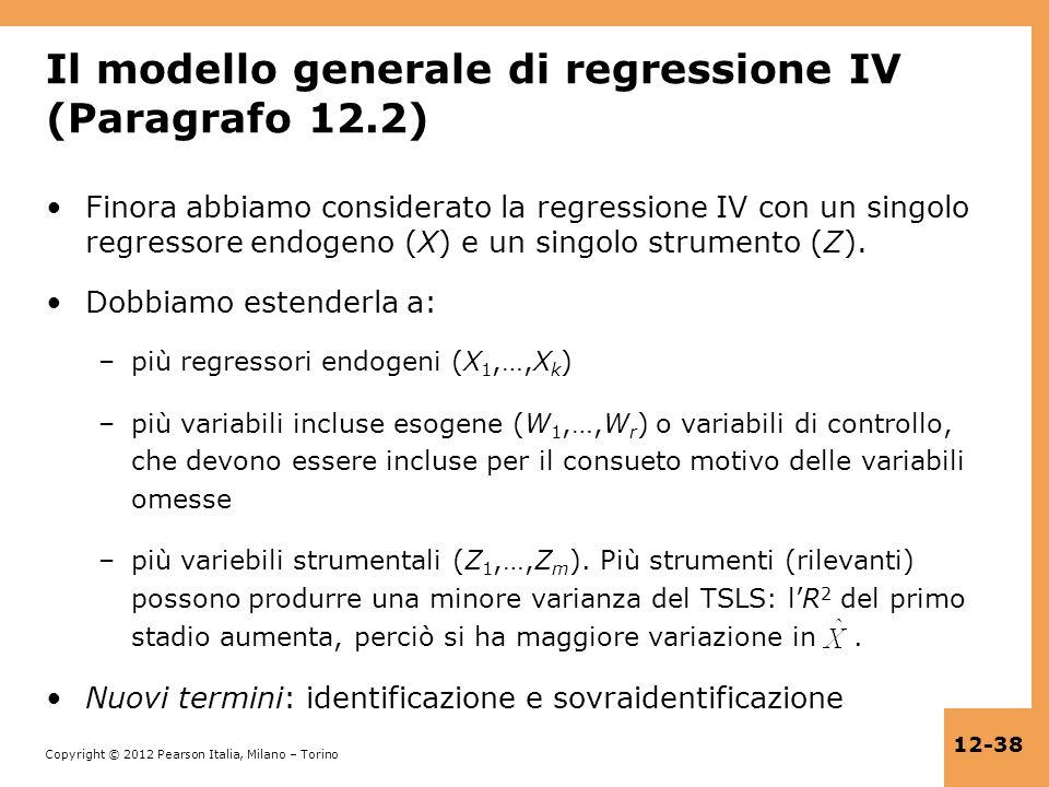 Il modello generale di regressione IV (Paragrafo 12.2)