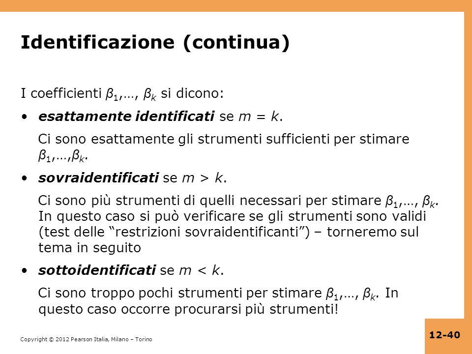 Identificazione (continua)