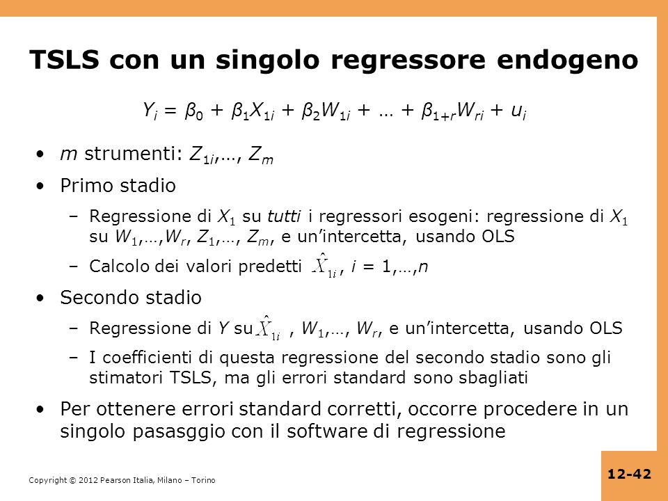 TSLS con un singolo regressore endogeno