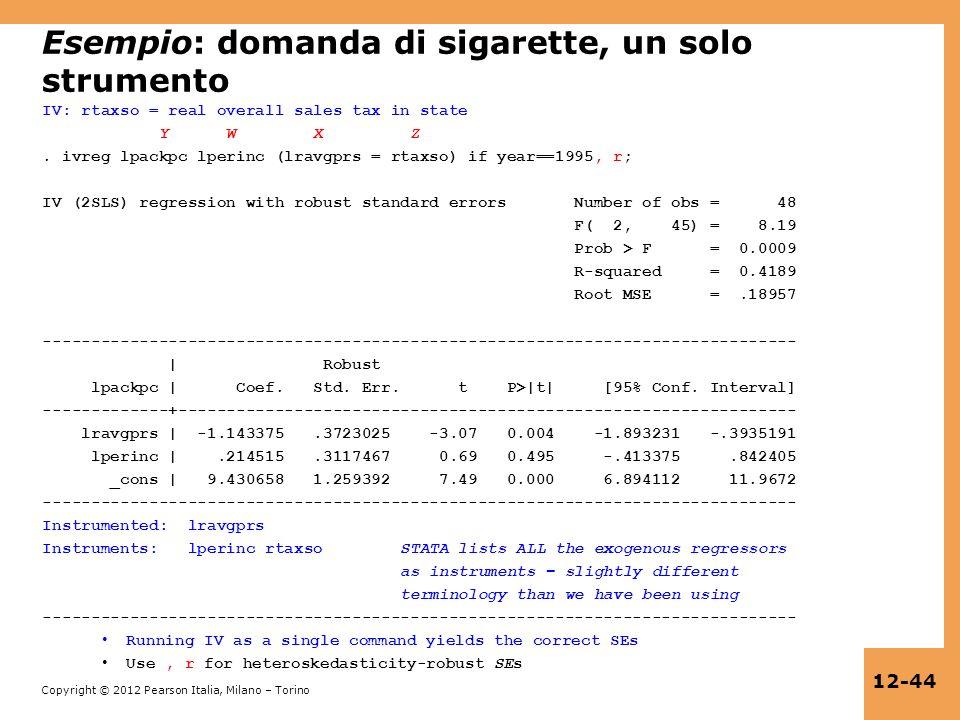 Esempio: domanda di sigarette, un solo strumento