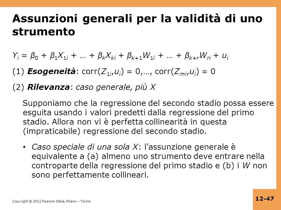Assunzioni generali per la validità di uno strumento
