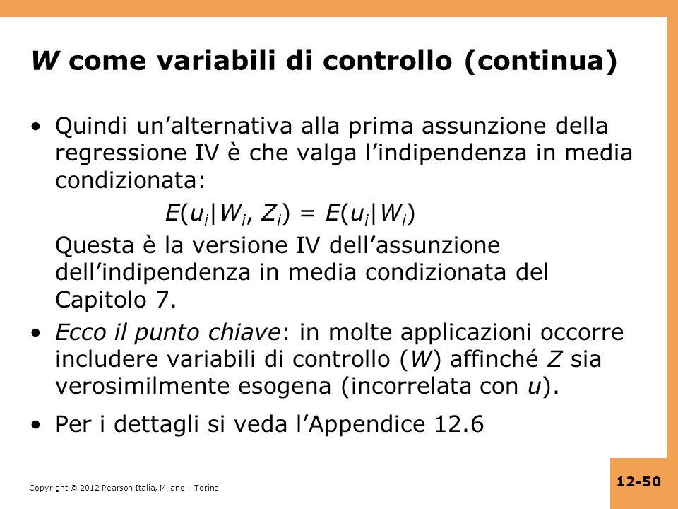 W come variabili di controllo (continua)