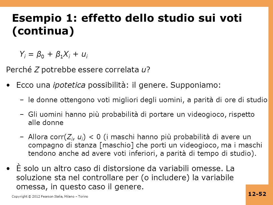 Esempio 1: effetto dello studio sui voti (continua)