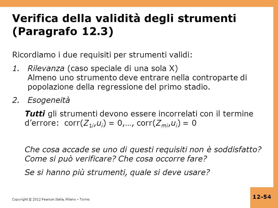 Verifica della validità degli strumenti (Paragrafo 12.3)