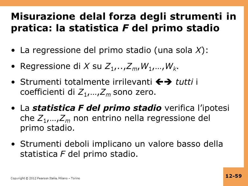 Misurazione delal forza degli strumenti in pratica: la statistica F del primo stadio