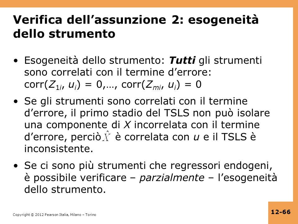 Verifica dell'assunzione 2: esogeneità dello strumento