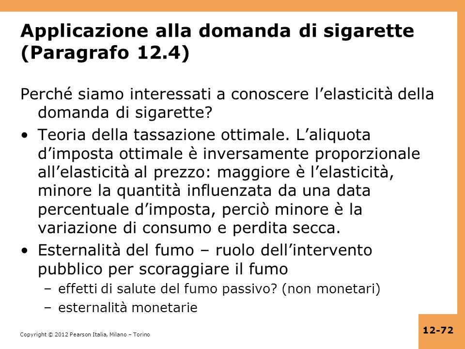 Applicazione alla domanda di sigarette (Paragrafo 12.4)