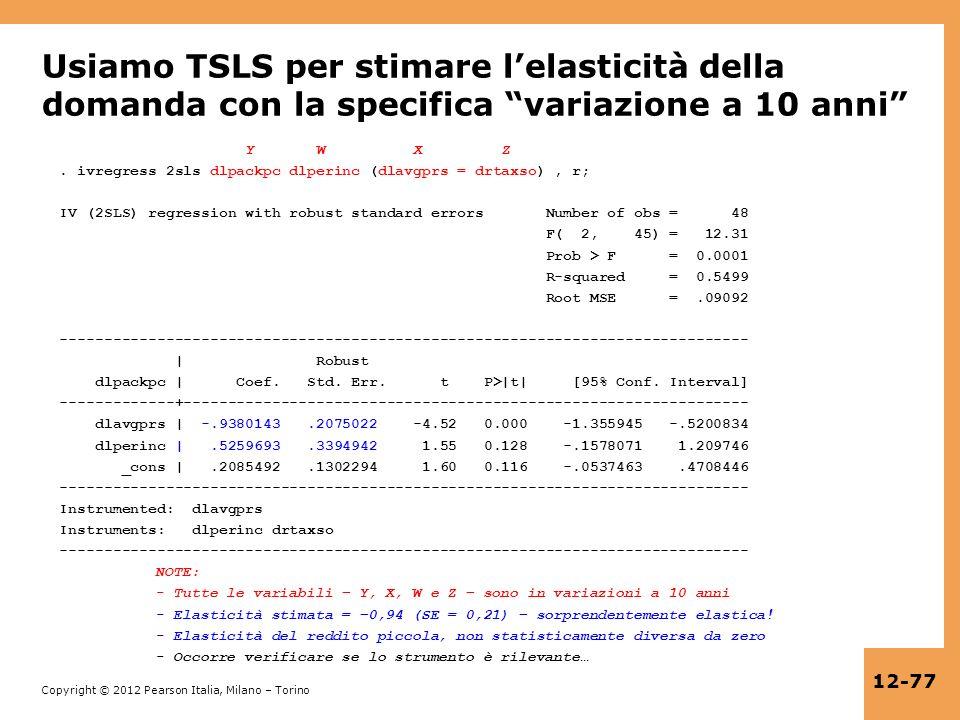 Usiamo TSLS per stimare l'elasticità della domanda con la specifica variazione a 10 anni