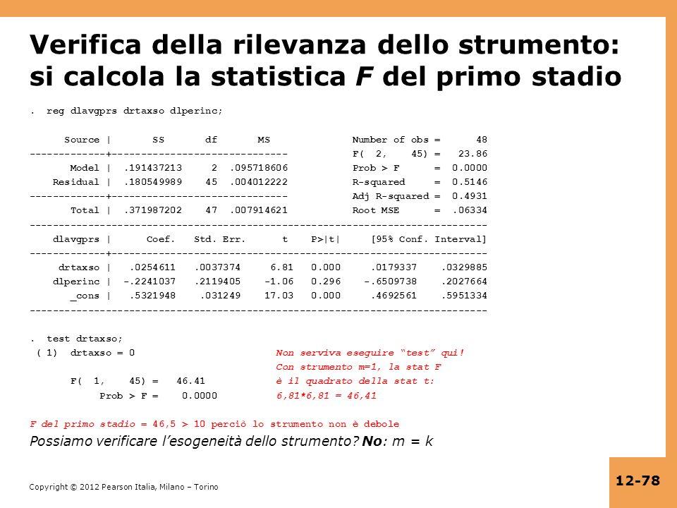 Verifica della rilevanza dello strumento: si calcola la statistica F del primo stadio
