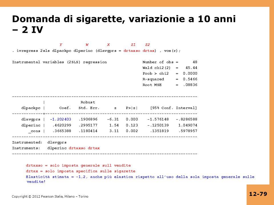 Domanda di sigarette, variazionie a 10 anni – 2 IV