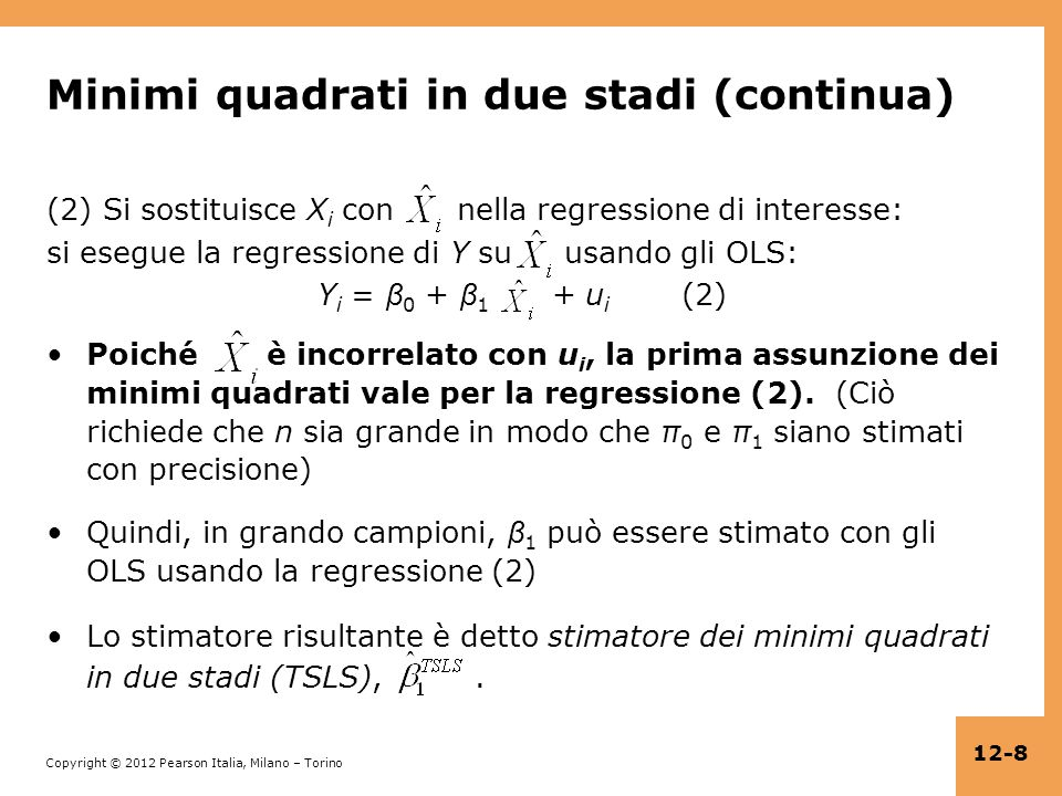 Minimi quadrati in due stadi (continua)