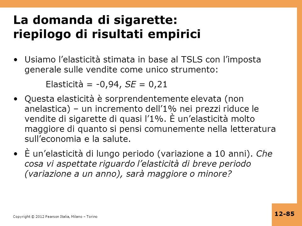 La domanda di sigarette: riepilogo di risultati empirici