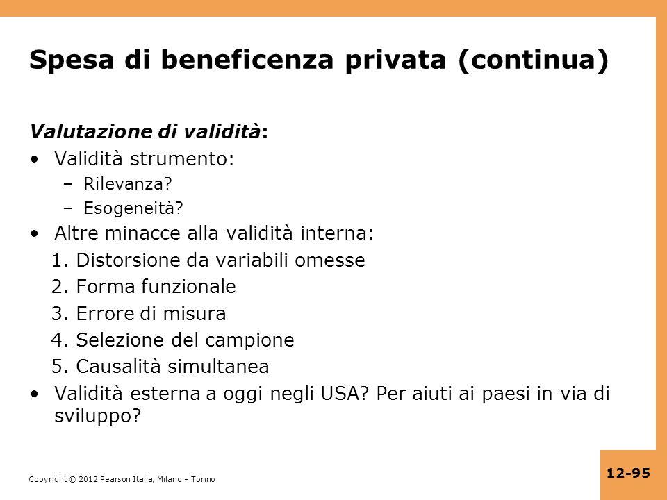 Spesa di beneficenza privata (continua)