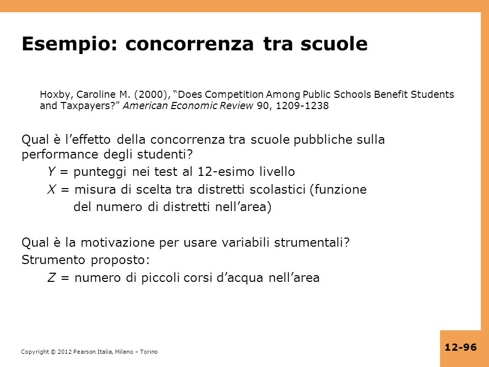 Esempio: concorrenza tra scuole