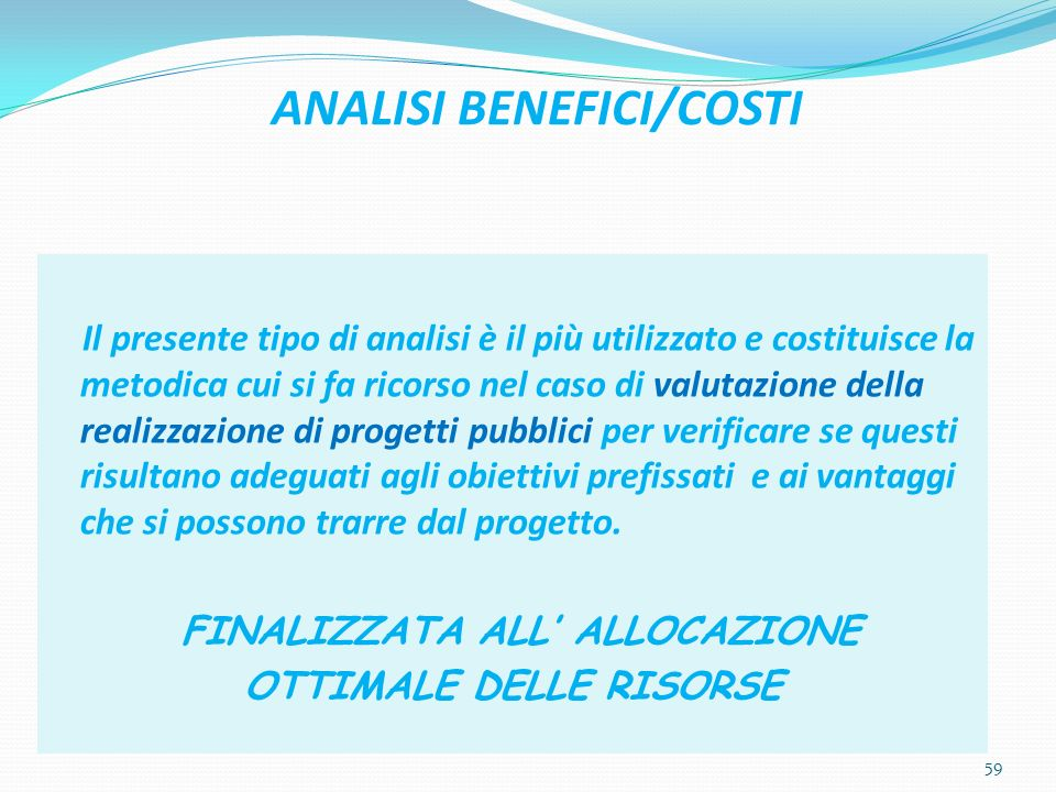 ANALISI BENEFICI/COSTI