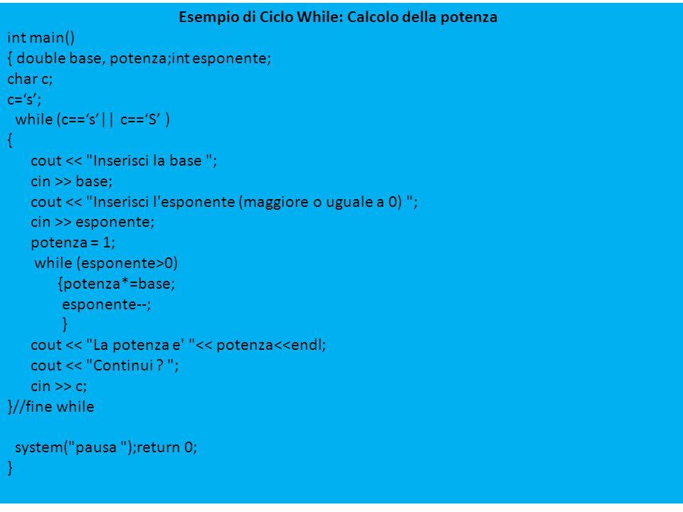 Esempio di Ciclo While: Calcolo della potenza
