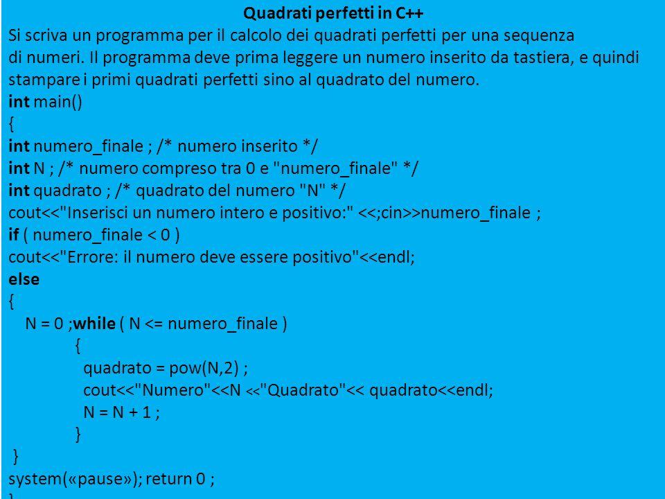 Quadrati perfetti in C++