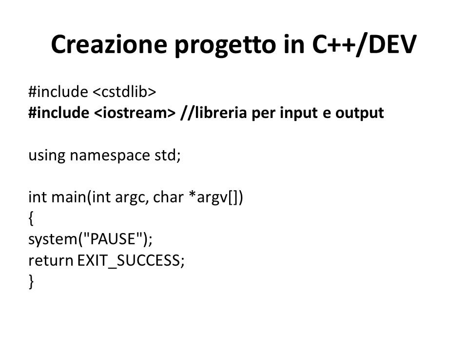 Creazione progetto in C++/DEV