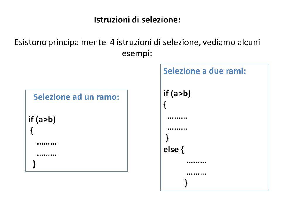 Istruzioni di selezione: