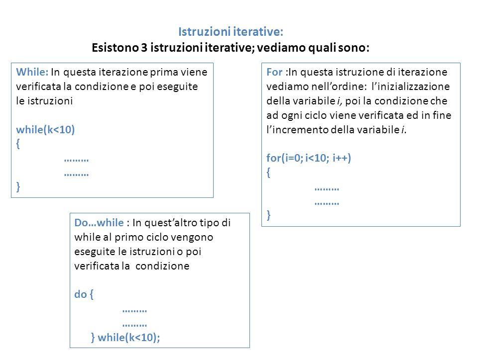 Istruzioni iterative: